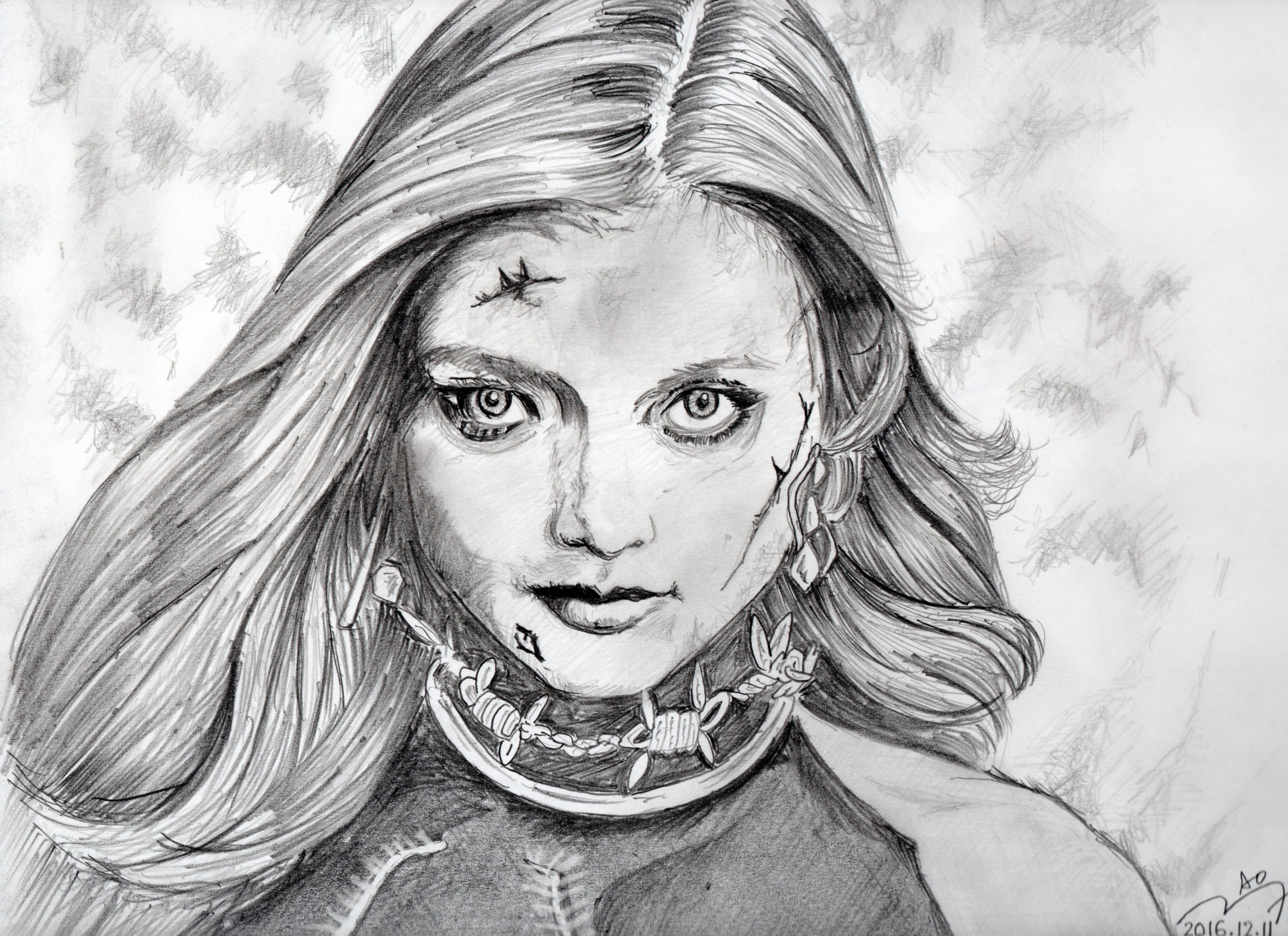 『バイオハザード・ファイル』ローラの鉛筆画似顔絵