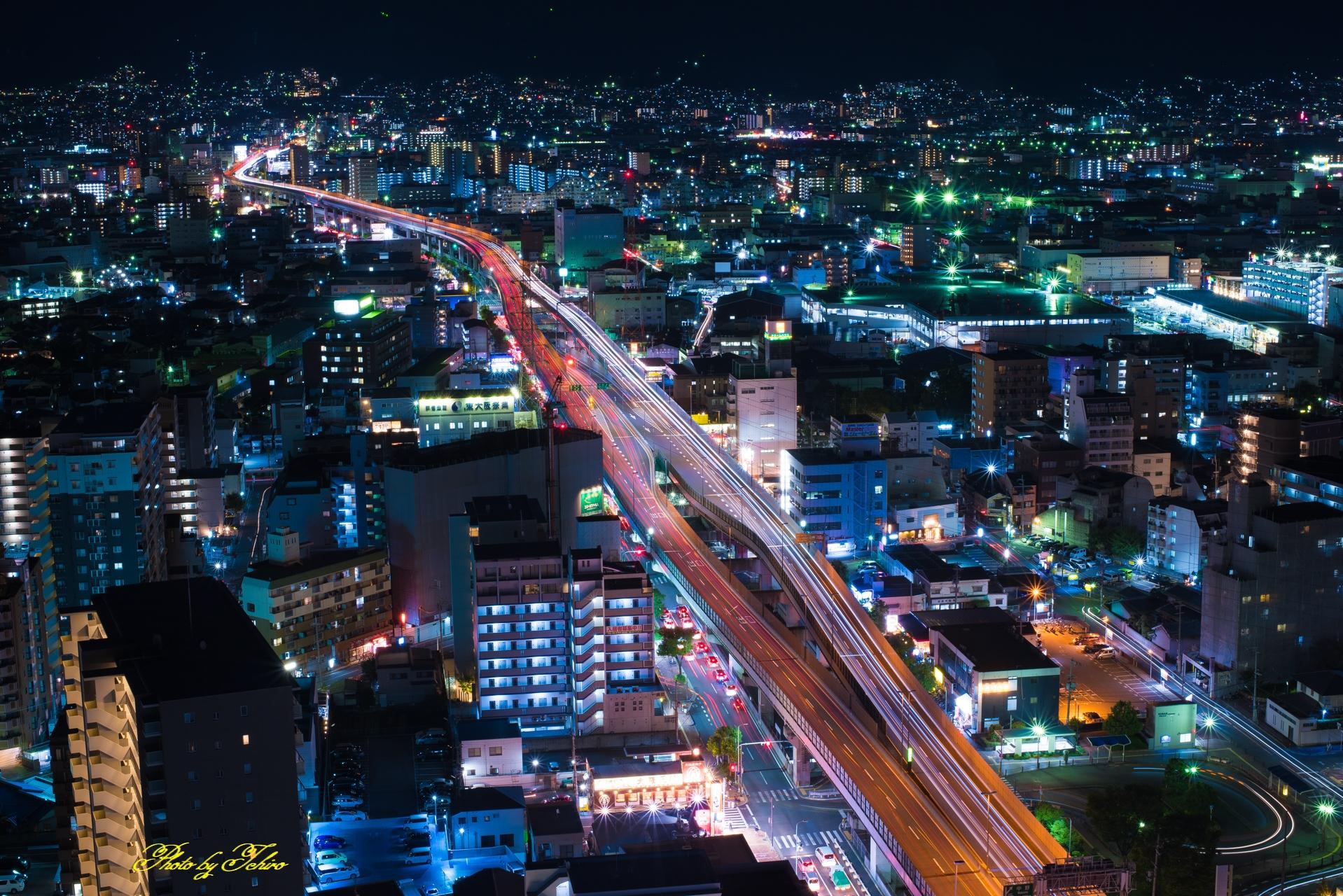 阪神高速東大阪線奈良生駒方面夜景