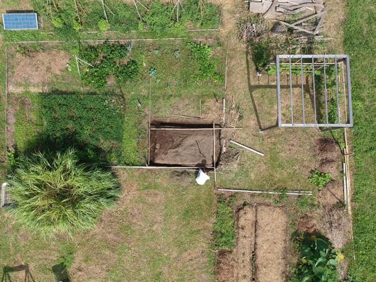 畑の区画をドローンで確認