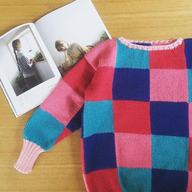 ブロックチェックセーター3