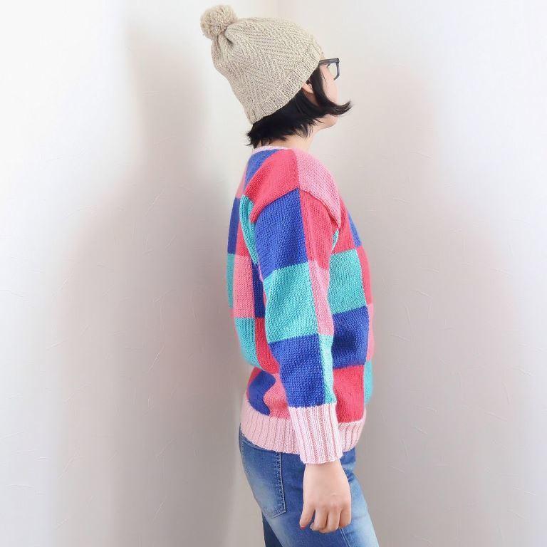 ブロックチェックセーター2