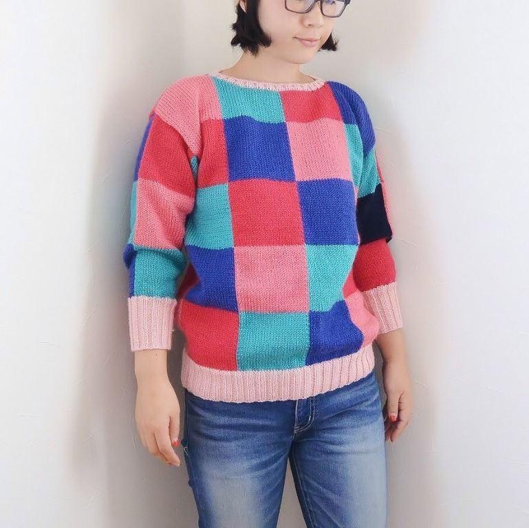 ブロックチェックセーター1