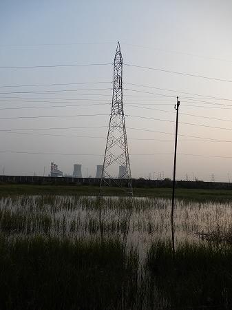 黄昏時の鉄塔と電柱。