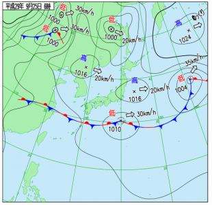 9月25日(月)6時の実況天気図