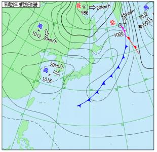 9月29日(金)15時の実況天気図