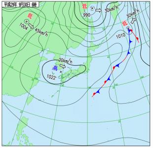 9月30日(土)6時の実況天気図