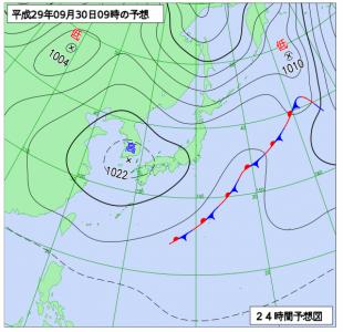 9月30日(土)9時の予想天気図