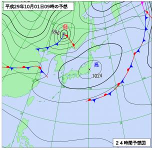 10月1日(日)9時の予想天気図