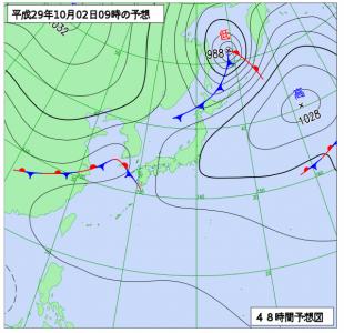 10月2日(月)9時の予想天気図
