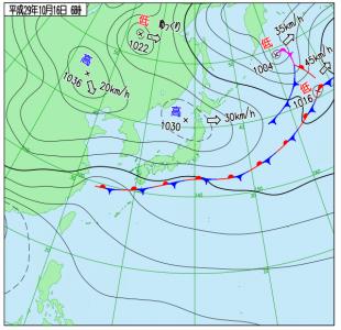 10月16日(月)6時の実況天気図