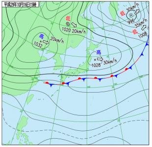 10月16日(月)15時の実況天気図