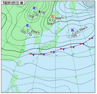 10月17日(火)6時の実況天気図