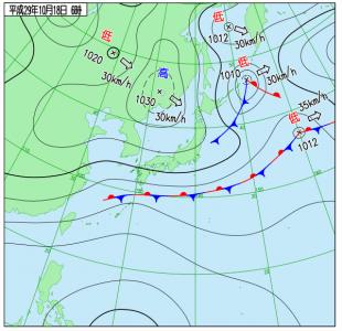 10月18日(水)6時の実況天気図