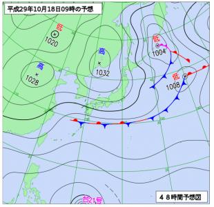 10月18日(水)9時の予想天気図