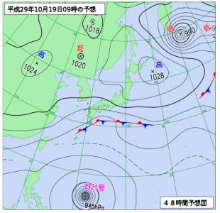 10月19日(木)9時の予想天気図