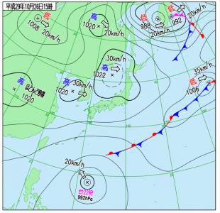 10月26日(木)15時の実況天気図