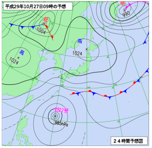 10月27日(金)9時の予想天気図