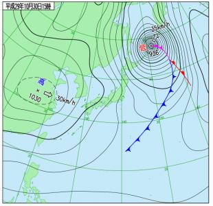 10月30日(月)15時の実況天気図