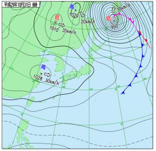 10月31日(火)6時の実況天気図