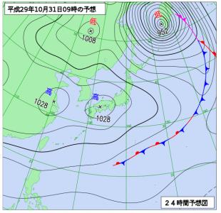 10月31日(火)9時の予想天気図