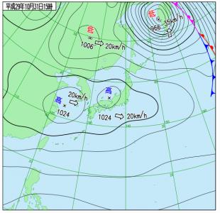 10月31日(火)15時の実況天気図