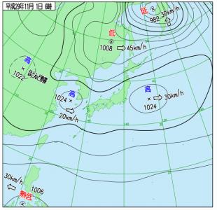 11月1日(水)6時の実況天気図