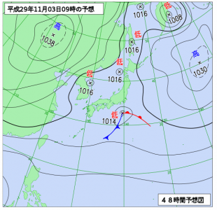11月3日(金祝)9時の予想天気図