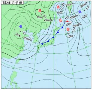 11月4日(土)6時の実況天気図