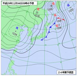 11月4日(土)9時の予想天気図