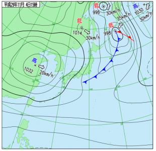 11月4日(土)15時の実況天気図