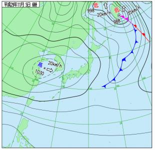11月5日(日)6時の実況天気図