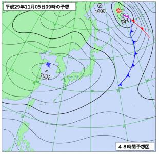 11月5日(日)9時の予想天気図