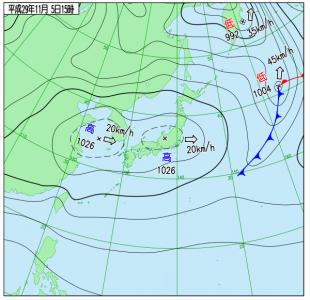 11月5日(日)15時の実況天気図