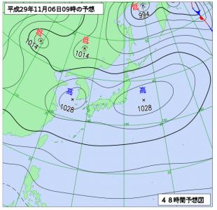 11月6日(月)9時の予想天気図