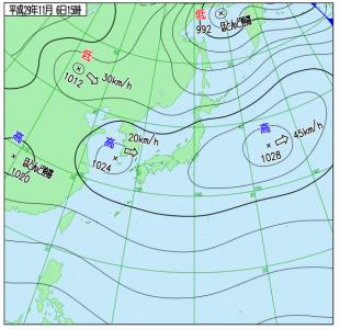 11月6日(月)15時の実況天気図