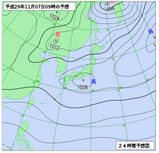 11月7日(火)9時の予想天気図