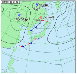 11月8日(水)6時の実況天気図
