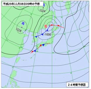 11月8日(水)9時の予想天気図