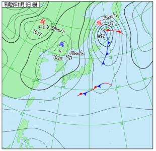 11月9日(木)6時の実況天気図