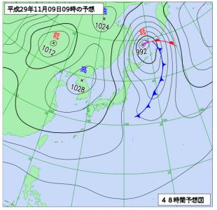 11月9日(木)9時の予想天気図