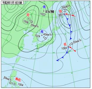 11月9日(木)15時の実況天気図