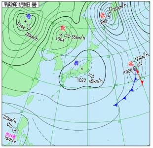 11月10日(金)6時の実況天気図