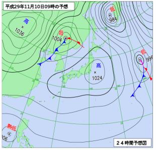 11月10日(金)9時の予想天気図