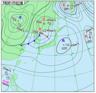 11月10日(金)15時の実況天気図