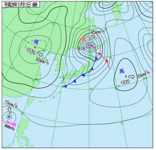 11月11日(土)6時の実況天気図
