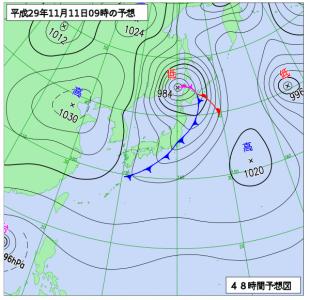 11月11日(土)9時の予想天気図