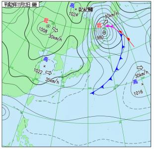 11月12日(日)6時の実況天気図