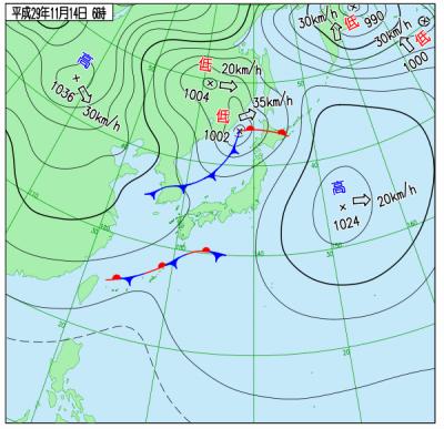11月14日(火)6時の実況天気図