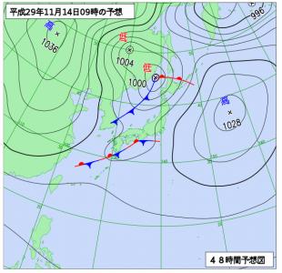 11月14日(火)9時の予想天気図