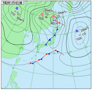 11月14日(火)15時の実況天気図